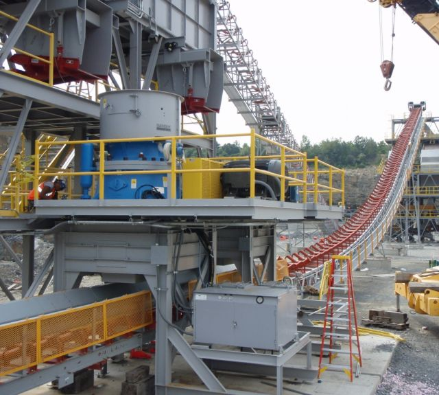 Material Handling Crushing  Equipment - Sandvik Cone Crusher, Hopper, and Conveyor Belt